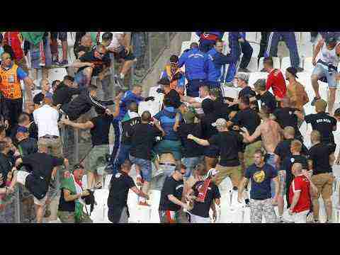 Hungarian fans in Marseille, Iceland vs Hungary. HUNGARIAN FANS CLASH INSIDE STADIUM WITH STEWARDS