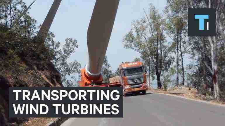Watch the perilous journey to bring wind turbine blades to the top of a mountain
