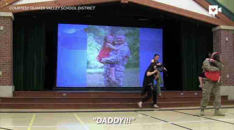 Army Captain surprises young daughter at school