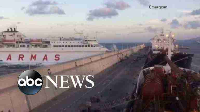 At least 5 people injured and 2-mile oil spill as ferry crashes into port wall in the Canary Islands